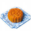 Mooncake, the Chinese words on the mooncake is 'ingredient', not a logo or trademark. — Stock Photo