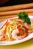 Fried rice noodles with Seafood — Stock Photo