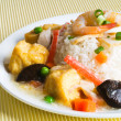 Tofu, seafood and Vegetable Stir Fried, Steam Rice — Stock Photo