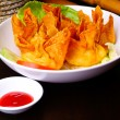 Fried wantons on the background — Stock Photo
