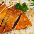 Chicken rice. Asian style hainan chicken rice — Stock Photo