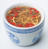 Chicken soup with ginseng — Stock Photo