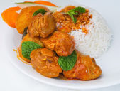 Curry Chicken with rice — Stock Photo