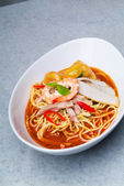 Prawn noodle - Malaysian food spicy noodles — Stock Photo