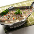 Steamed fish asia style on background — Stock Photo