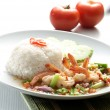 Shrimp serve with rice asia food — Foto de Stock