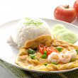 Omelet with rice and fish sauce spicy.thai food. — Stock Photo