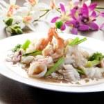 Постер, плакат: Fried rice noodles with Seafood