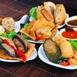 Yong Tau Fu. delicious Asian cuisine of fish paste stuffed — Stock Photo