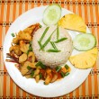 Fish and Steamed Rice. Thai Cuisine — Stock Photo