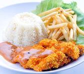 Yong Tau Fu. elicious Asian Chinese cuisine of fish paste stuffed — Stock Photo