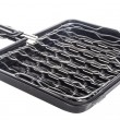 Bbq grill pan, barbecue grill camping basket — Stock Photo