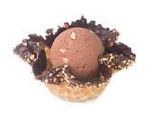 Ice cream. Chocolate Ice Cream Scoop on a background — Stock Photo