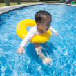 Baby boy Activities on the pool, children swimming — Stock Photo