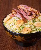 Japanese cuisine. ginger fried rice on the background — Stock Photo
