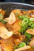 Japanese cuisine. hot plate chicken on the background — Stock Photo