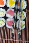 Japanese cuisine. sushi on the background — Stock Photo