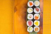 Japanese cuisine. sushi on the background — Stock Photo