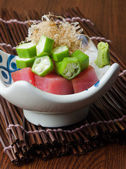 Japanese cuisine. sashimi on the background — Stock Photo
