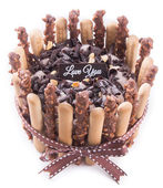 Cake, birthday Ice-cream cake on the background — Stock Photo