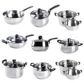 Pot. stainless steel pot collection on a background — Stock Photo