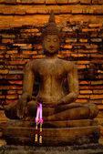 Thailand landmark. Ancient buddha statue. Sukhothai Historical P — Stock Photo