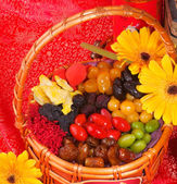 Dried fruits on chinese new year background — Stock Photo