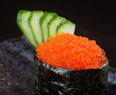 Japanese cuisine. salmon roe on the background — Stock Photo