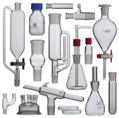Lab. Laboratory glassware set on a background — Stock Photo