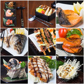 Japanese food collage on the background — Stock Photo
