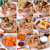 Ba kut teh collage. Malaysian stew of pork and herbal soup,  — Stock Photo
