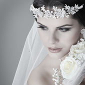 Portrait of beautiful bride. Wedding dress. Wedding decoration — Stok fotoğraf
