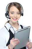 Can I help you ? Closeup of a female customer service representative — Stock Photo