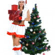 Beautiful and sexy woman wearing santa clause costume isolated o — Stock Photo
