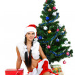 Royalty-Free Stock Photo: Beautiful and sexy woman wearing santa clause costume isolated o