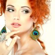 Red hair. Fashion girl portrait.Accessorys. — Стоковая фотография