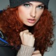 Portrait of sexual beautiful redheaded girl in a sportwear, is in fashion style — Stockfoto
