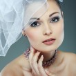 Portrait of beautiful bride. Wedding dress. Wedding decoration — Stock Photo #17131345