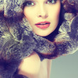 A photo of sexual beautiful girl is in fur clothes — Stock Photo