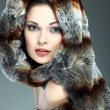 A photo of sexual beautiful girl is in fur clothes — Stockfoto