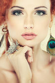 Red hair. Fashion girl portrait.Accessorys. — Stockfoto
