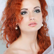 Portrait of beautiful redheaded bride. Wedding dress. Wedding decoration — Stock Photo