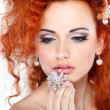 Red hair. Fashion girl portrait.Accessorys.Isolated on a white background — Stock Photo