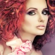 Fashion girl portrait.Accessorys.On grey  background. Red hair. — Foto de Stock