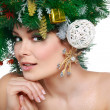 Christmas Woman. Beautiful New Year and Christmas Tree Holiday Hairstyle and Make up. — Stock Photo #36542935