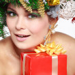 Christmas Woman. Beautiful New Year and Christmas Tree Holiday Hairstyle and Make up. — Stock Photo #36802267
