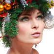 Christmas Woman. Beautiful New Year and Christmas Tree Holiday Hairstyle and Make up. — Stock Photo #36802273