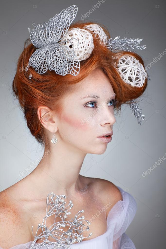 Cool Redheaded Girl With New Year Decorations In A Hair Do Beautiful Hairstyles For Men Maxibearus