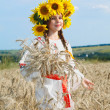 Little girl is in vintag national clothes — Stock Photo #47813393