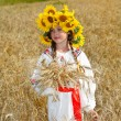 Little girl is in vintag national clothes — Stock Photo #47813395